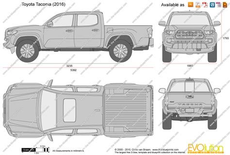 tacoma bed dimensions the blueprints com vector drawing toyota tacoma double cab