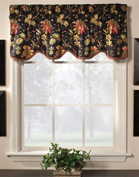 Waverly Patterns Curtains Felicite Scalloped Valance By Waverly Multi Color Jacobean Pattern Of Creme Or Black Background