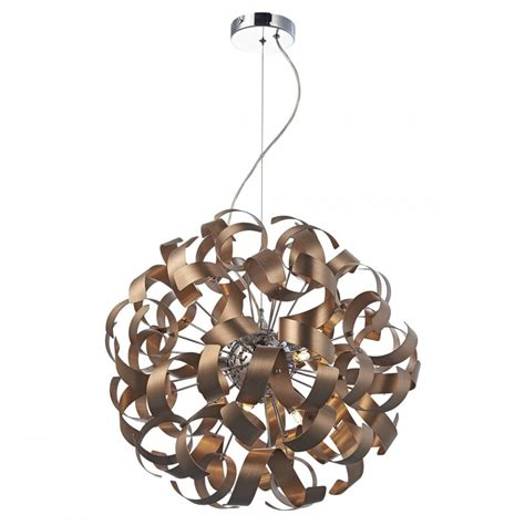 copper ribbon wrapped shaped ceiling pendant for high