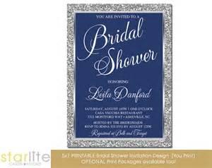 navy blue silver bridal shower invitation glitter frame engagement party vintage style