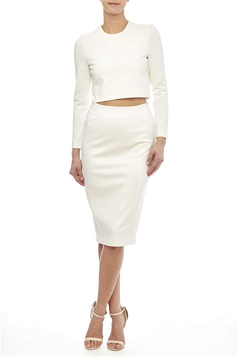 white knit skirt blaque label white knit pencil skirt from houston by