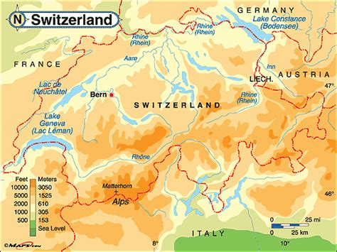 physical map of switzerland switzerland physical map by maps from maps