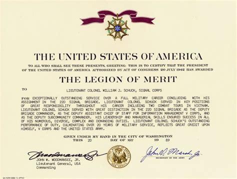 Military Awards of Lt Col Wm John Schuck