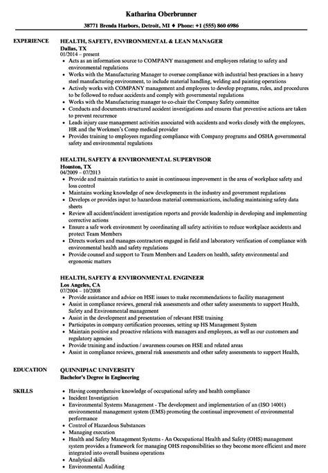 Health, Safety & Environmental Resume Samples   Velvet Jobs