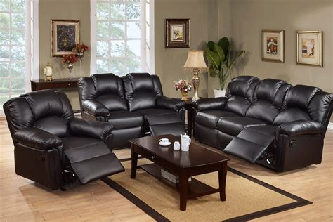 Leather Reclining Sofa Sets Rich Black Leather Reclining Sofa Set Plushemisphere