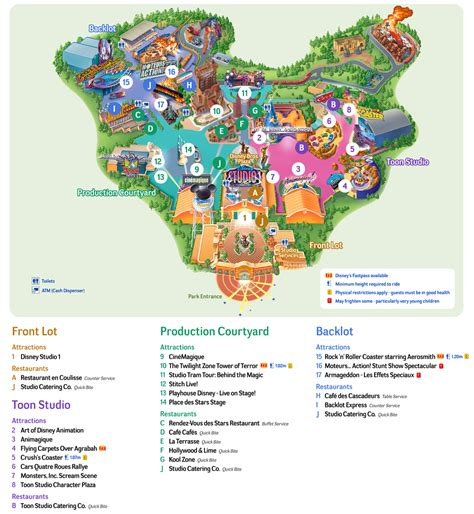 printable maps disneyland map of walt disney studios park of paris http