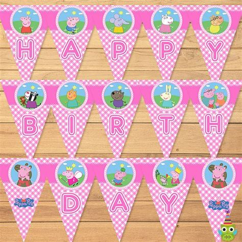 free printable birthday banner peppa pig 16 best peppa pig party printables pink checkered images