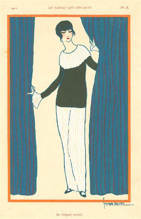 georges lepapes artwork titled le rideau qui secarte presented  artophile