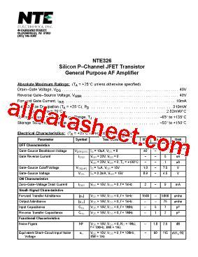 326 transistor datasheet nte326 datasheet pdf nte electronics