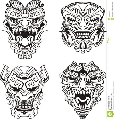 imagenes de animales aztecas aztec monster totem masks stock vector illustration of