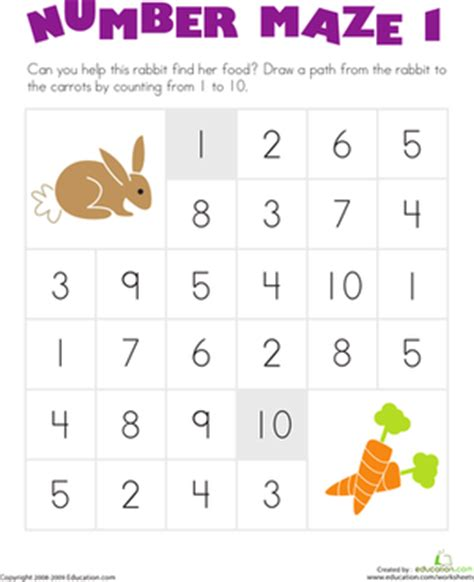 printable number mazes kindergarten number maze help the hungry bunny worksheet