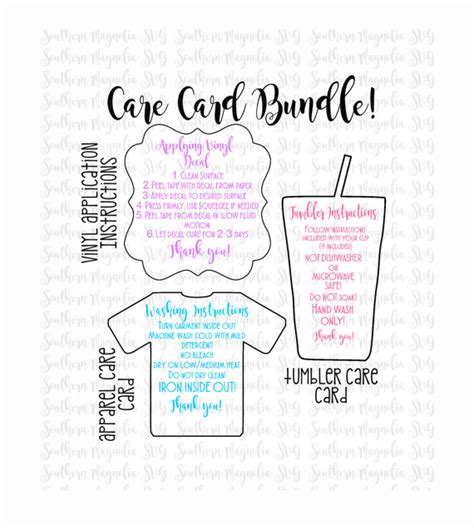 Printable Vinyl Decal Instructions | care card instructions bundle apply vinyl decal print