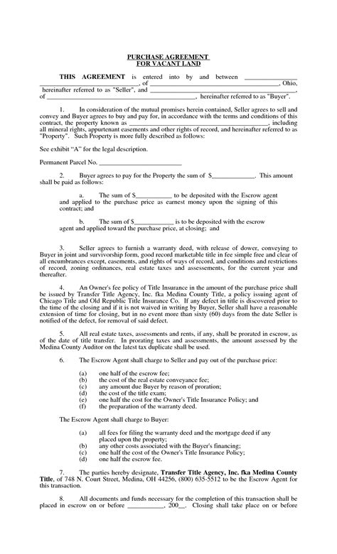 land sale agreement template 10 best images of land purchase agreement template