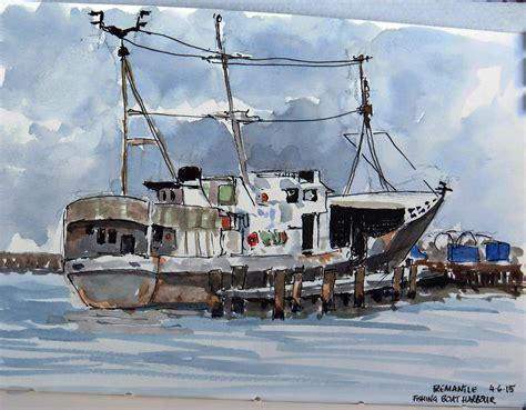 boat paint perth perth plein air painters fremantle fishing boat harbour