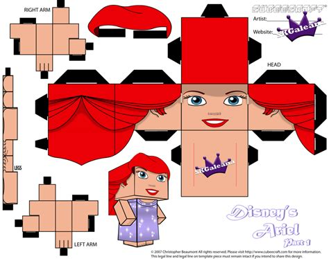 Princess Papercraft - disney princess ariel cubeecraft purple dress pt1 by
