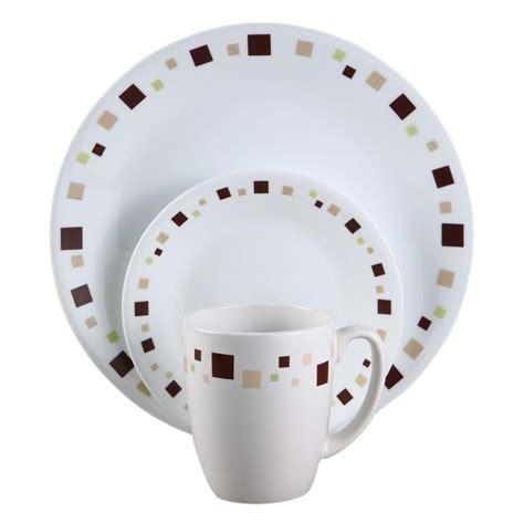 geometric pattern dinnerware corelle geometric 16 piece vitrelle dinnerware set 1065856
