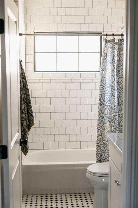 hall bathroom tiles 4x4 tile on brick pattern with dark grout by rafterhouse