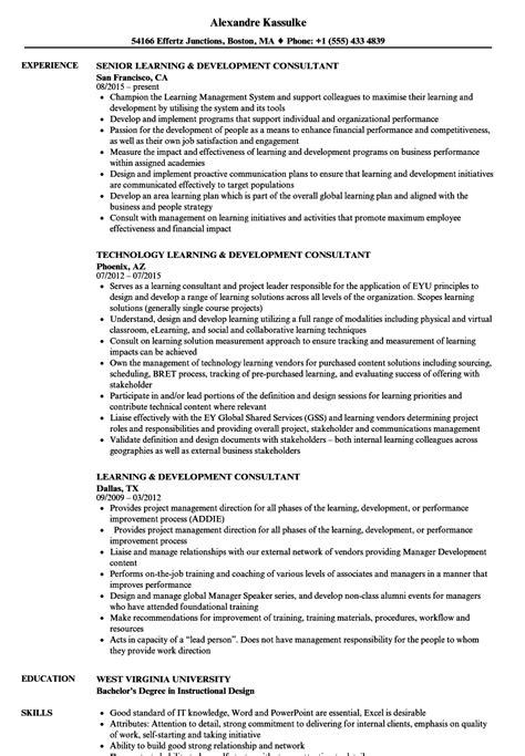 developing a resume exles learning development consultant resume sles velvet