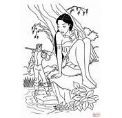 Dibujo De Pocahontas Con John Para Colorear  Dibujos