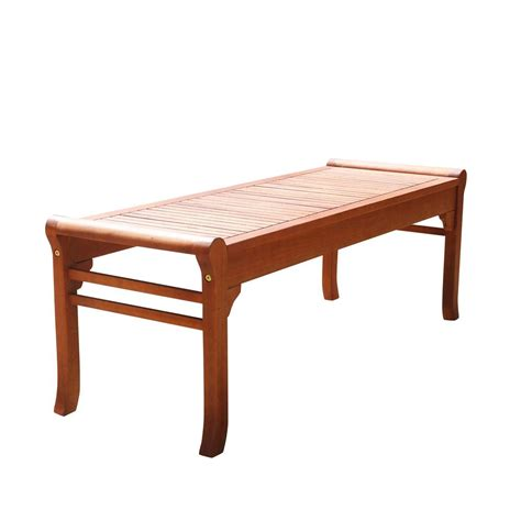 4 foot bench vifah malibu 4 ft backless patio bench v1642 the home depot