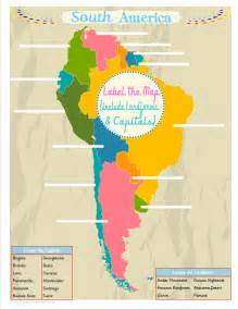 study map of south america south america unit study colorful free printable map