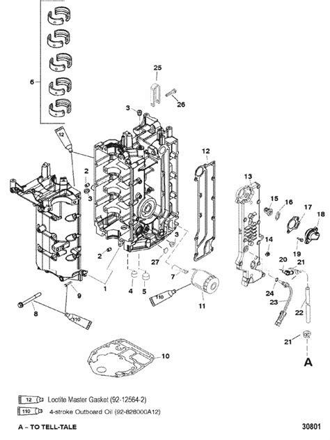 mercury marine  hp  stroke  cylinder cylinder block crankcase parts