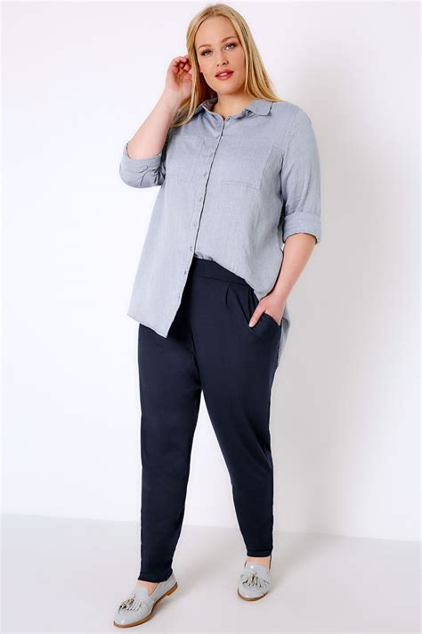 German Email Address Finder Navy Pleat Jersey Harem Trousers Plus Size 16 To 36