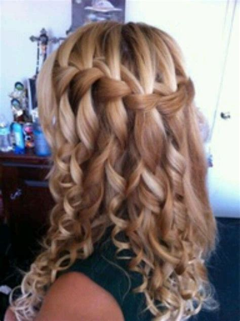 cute wand hairstyles waterfall braid with wand curls hair pinterest wand