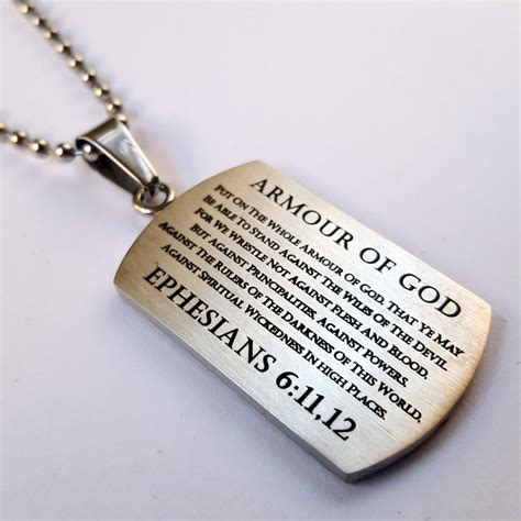 Armor of God Pendant Dog Tag, Bible Verse Ephesians 6, Stainless Steel ? North Arrow Shop