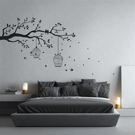 Wall Sticker Leaves 3 Cages Jm7259 removable tree branch wall sticker with falling leaves bird cages birds home decor wall