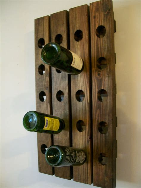 Handmade Wine Rack - rustic wine rack riddling wine rack wood handmade wall