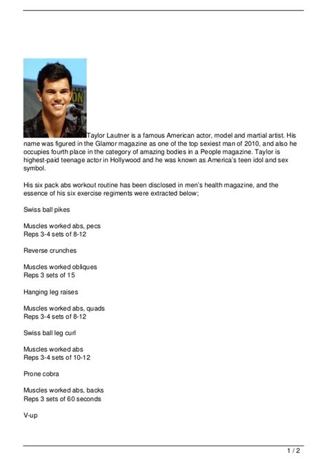 taylor lautner workout photo shared lautner s six pack abs workout routine