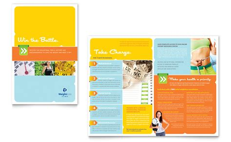 half fold brochure template word weight loss clinic