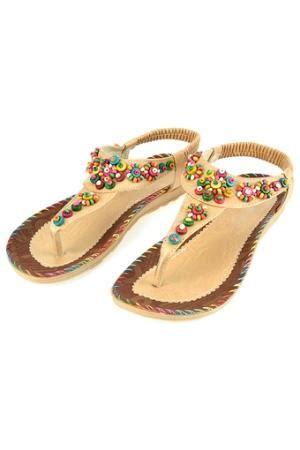 Summer Flip Flops Brown Intl handmade colorful flat sandals