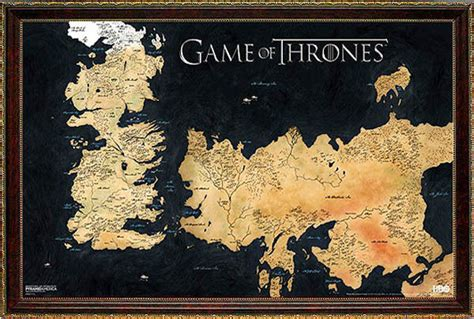 map layout for game of thrones game of thrones poster map framed ebay