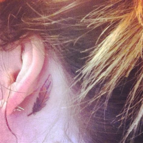 feather behind ear tattoo ear feather i it ink