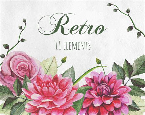 imágenes flores vintage retro flowers clip art watercolor vintage flowers boho clipart