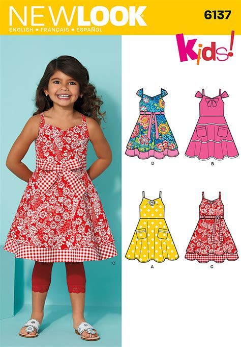 pattern dress child new look 6137 girls dress belt