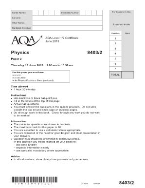 Fillable Online Aqa Level 1 2 Certificate In Physics