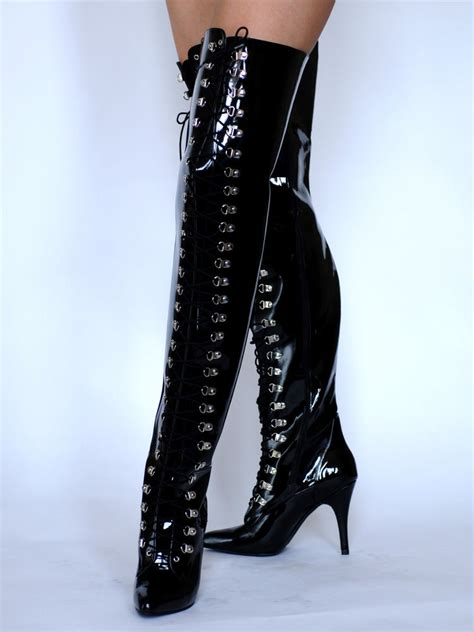 new pvc high heel court lace up thigh high boots black uk