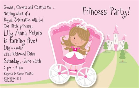 princess party invitations template best template collection
