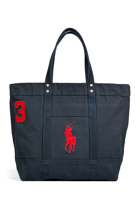 Ralph Blue Label Small Canvas Tote by Ralph Aviator Navy Canvas Big Polo Tote In Blue For