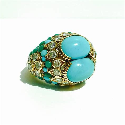 1960s cartier turquoise gold ring at 1stdibs