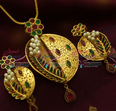 Handmade Gold Jewellery Designs - ps1823 exclusive antique ruby emerald gold design handmade