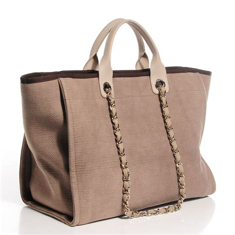 Deauville Shopper Tote Bags Printed chanel canvas large deauville tote ecru 103697