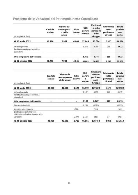 utili portati a nuovo relazione finanziaria semestrale 31 ottobre 2013 sesa s p a