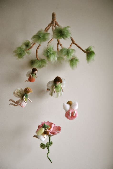 spring mobile waldorf inspired needle felted dolls