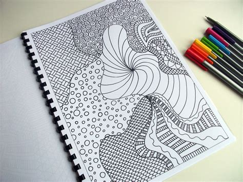 zentangle pattern colour items similar to printable coloring page zentangle