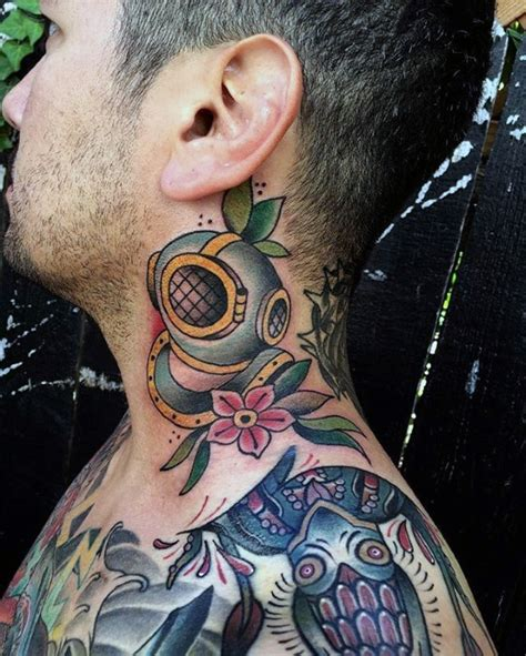neck tattoo with suit 60 diving helmet tattoo designs for men deep sea ideas