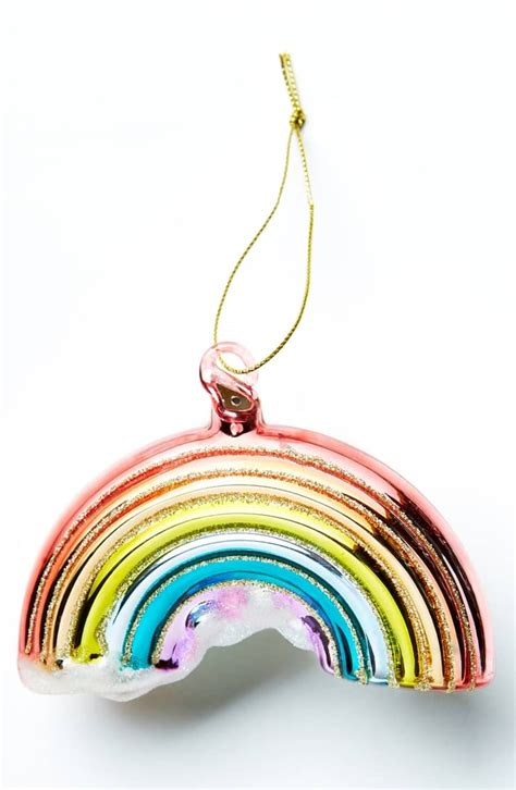 anthropologie glittery rainbow glass ornament  christmas ornaments  popsugar family